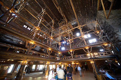 THE OLD FAITHFUL LOBBY IS HIGHLIGHTED BY THE INTRICATE USE OF WOOD BEAMS