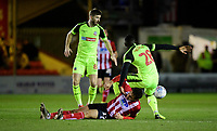 Lincoln City's Tyler Walker vies for possession with Bolton Wanderers' Aristote Nsiala<br /> <br /> Photographer Chris Vaughan/CameraSport<br /> <br /> The EFL Sky Bet League One - Lincoln City v Bolton Wanderers - Tuesday 14th January 2020  - LNER Stadium - Lincoln<br /> <br /> World Copyright © 2020 CameraSport. All rights reserved. 43 Linden Ave. Countesthorpe. Leicester. England. LE8 5PG - Tel: +44 (0) 116 277 4147 - admin@camerasport.com - www.camerasport.com