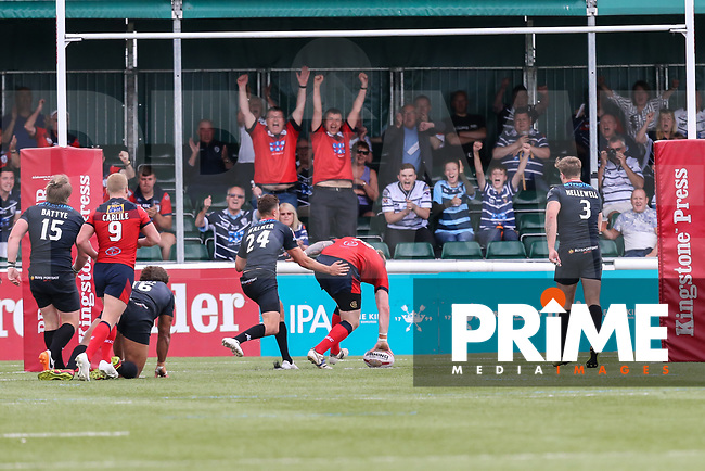 Andy Bostock of Featherstone Rovers scores a try during the Kingstone Press Championship match between London Broncos and Featherstone Rovers at Castle Bar , West Ealing , England  on 25 June 2017. Photo by David Horn.