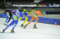 SCHAATSEN: HEERENVEEN: 25-10-2014, IJsstadion Thialf, Marathonschaatsen, KPN Marathon Cup 2, Jorrit Bergsma (#13), ©foto Martin de Jong