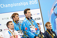Sascha Klein and Patrick Hausding GER gold medal, Victor Minibaev and Roman Izmailov RUS silver medal, Oleksandr Goroshkovozov and Maksym Dolgov UKR bronze medal<br /> <br /> Synchronised Platform Men final<br /> <br /> Day 06 14/06/2015  <br /> <br /> 2015 Arena European Diving Championships<br /> <br /> Neptun Schwimmhalle<br /> <br /> Rostock Germany 09-14 June 2015 <br /> <br /> Photo Giorgio Perottino/Deepbluemedia/Insidefoto