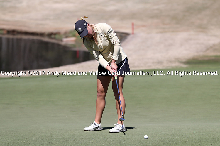 BROWNS SUMMIT, NC - APRIL 01: Wake Forest's Jennifer Kupcho putts on the 1st hole. The second round of the Bryan National Collegiate Women's Golf Tournament was held on April 1, 2017, at the Bryan Park Champions Course in Browns Summit, NC.