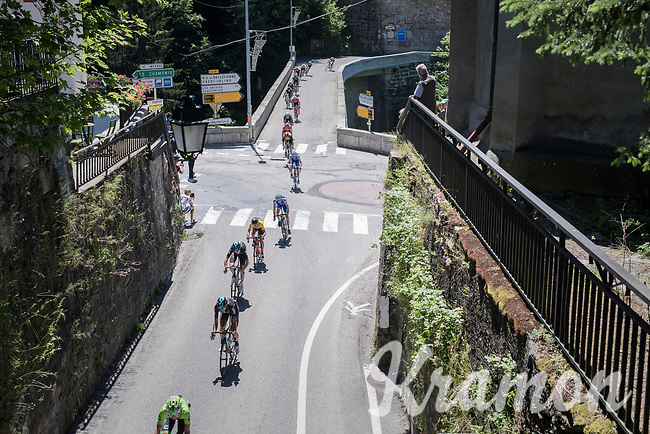 yellow jersey/ GC leader Richie Porte (AUS/BMC) got isolated from teammates in a thinned out peloton coming down the Col des Saisies &amp; diving into the little town of Flumet<br /> <br /> 69th Crit&eacute;rium du Dauphin&eacute; 2017<br /> Stage 8: Albertville &gt; Plateau de Solaison (115km)