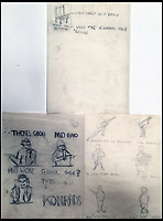 BNPS.co.uk (01202 558833)Pic : OmegaAuctions/BNPS<br /> <br /> Charming drawings by a young David Bowie depicting his fledgling band as superstars have been found in the loft of one of the original members.<br /> <br /> The naive doodles were produced by a 16-year-old Bowie and were his ideas for early promotional material for his first group 'The Konrads'. <br /> <br /> They include a mock-up front page of a newspaper with the headline 'NEWSFLASH' and 'The Konrads' with silhouette picture of all five band members.
