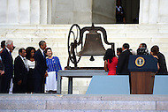 August 28, 2013  (Washington, DC)   President Obama looks on as the King family rings the bell from the historic 16th Street Baptist Church in Birmingham, AL during the 50th anniversary of the 1963 March on Washington August 28, 2013.  (Photo by Don Baxter/Media Images International)