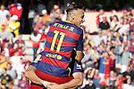 FC Barcelona's Luis Suarez (b) and Neymar Santos Jr celebrate goal during La Liga match. May 14,2016. (ALTERPHOTOS/Acero)