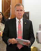 United States Senator Thom Tillis (Republican of North Carolina) departs following the hearing where Judge Brett Kavanaugh attempted to refute the testimony of Dr. Christine Blasey Ford  before the US Senate Committee on the Judiciary on his nomination to be Associate Justice of the US Supreme Court to replace the retiring Justice Anthony Kennedy on Capitol Hill in Washington, DC on Thursday, September 27, 2018.  <br /> Credit: Ron Sachs / CNP<br /> (RESTRICTION: NO New York or New Jersey Newspapers or newspapers within a 75 mile radius of New York City)