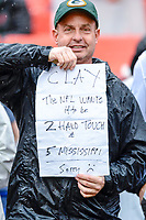 Landover, MD - September 23, 2018: A Packers fan hold up a sign before game between the Green Bay Packers and the Washington Redskins at FedEx Field in Landover, MD. The Redskins get the win 31-17 over the visiting Packers. (Photo by Phillip Peters/Media Images International)