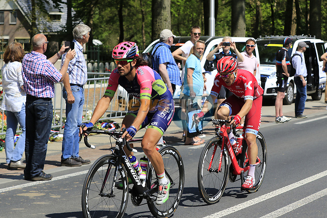 Roberto Ferrari (ITA) Lampre-Merida and Alexey Tcatevitch (RUS) Team Katusha pass Grebbeberg Military Cemetery on the route of Stage 2 of the 2016 Giro d'Italia running 190km from Arnhem to Nijmegen, The Nethrerlands. 7th May 2016.<br /> Picture: Eoin Clarke | Newsfile<br /> <br /> <br /> All photos usage must carry mandatory copyright credit (&copy; Newsfile | Eoin Clarke)