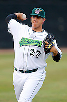 Jamestown Jammers Jose Fernandez #37, the Marlins first round draft choice, warms up before a game against the Mahoning Valley Scrappers at Russell E. Diethrick Jr Park on September 2, 2011 in Jamestown, New York.  Mahoning Valley defeated Jamestown 8-4.  (Mike Janes/Four Seam Images)