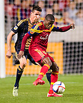 Real Salt Lake defender Demar Phillips (17) keeps the ball away from Philadelphia Union forward Sebastien Le Toux (9) in the first half Saturday, March 14, 2015, during the Major League Soccer game at Rio Tiinto Stadium in Sandy, Utah. (© 2015 Douglas C. Pizac)