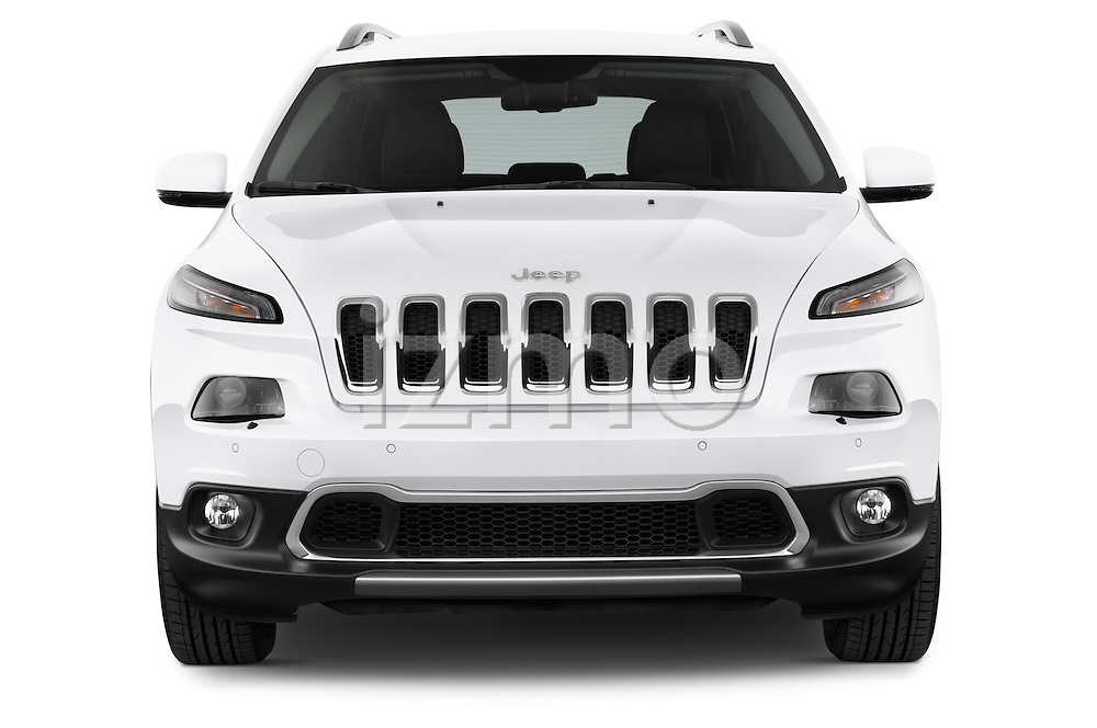 Car photography straight front view of a 2015 Jeep Cherokee Limited 5 Door SUV