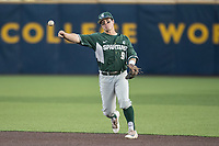 Michigan State Spartans second baseman Dan Durkin (9) makes a throw to first base against the Michigan Wolverines during the NCAA baseball game on April 18, 2017 at Ray Fisher Stadium in Ann Arbor, Michigan. Michigan defeated Michigan State 12-4. (Andrew Woolley/Four Seam Images)