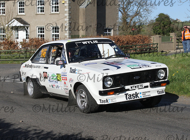 Drew Wylie - Dean Beckett in a Ford Escort Mk 2 at Junction 11 on Special Stage 6 Bucks Head on the Discover Northern Ireland Circuit of Ireland Rally which was a constituent round of  the FIA European Rally Championship, the FIA Junior European Rally Championship, the Clonakilty Irish Tarmac Rally Championship, and the MSA ANICC Northern Ireland Stage Rally Championships which took place on 18.4.14 and 19.4.14 and was based in Belfast.