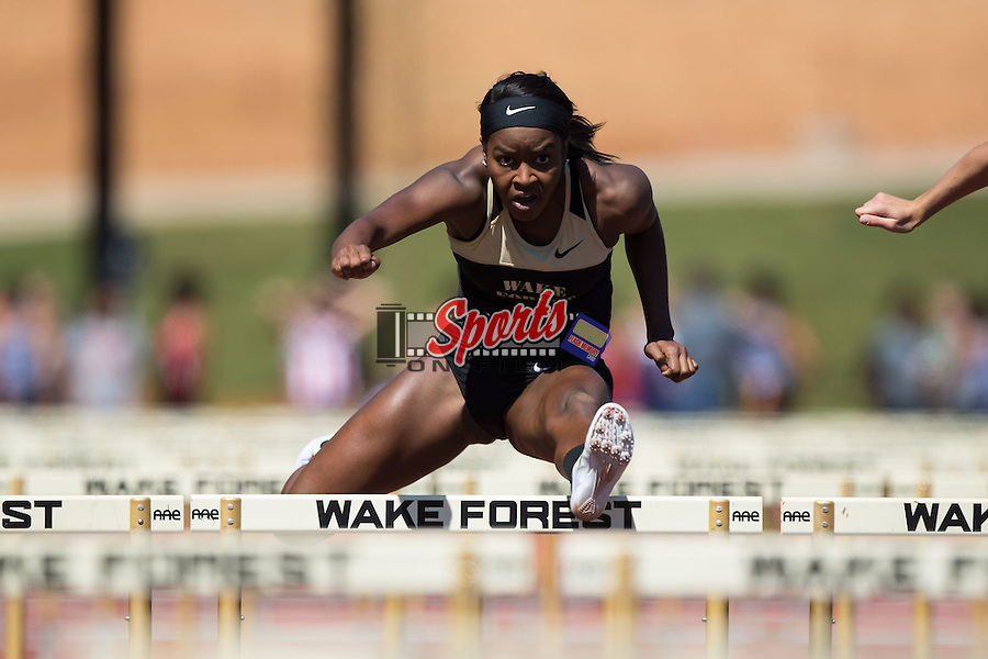 Hunter Roberts of the Wake Forest Demon Deacons competes in the women's 100m hurdles at the Wake Forest Open on March 18, 2016 in Winston-Salem, North Carolina.  (Brian Westerholt/Sports On Film)
