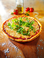 Italian cheese topped Pizza with rocket - margerita.