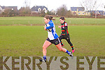 Tralee's Cira O'Connor get through to get Their only Try with  Highfield's Fiona O'Sullivan in pursuit at the Tralee Ladies V Highfield Ladies at O'Dowd Park Tralee on Sunday