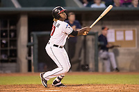 Lansing Lugnuts designated hitter Vladimir Guerrero Jr. (27) follows through on his swing during the Midwest League baseball game against the Bowling Green Hot Rods on June 29, 2017 at Cooley Law School Stadium in Lansing, Michigan. Bowling Green defeated Lansing 11-9 in 10 innings. (Andrew Woolley/Four Seam Images)