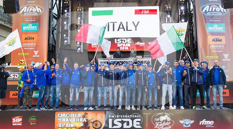 Itali enduro team during the presentation of the FIM international six days of enduro 2016 in Pamplona, Spain. October 09, 2016. (ALTERPHOTOS/Rodrigo Jimenez)