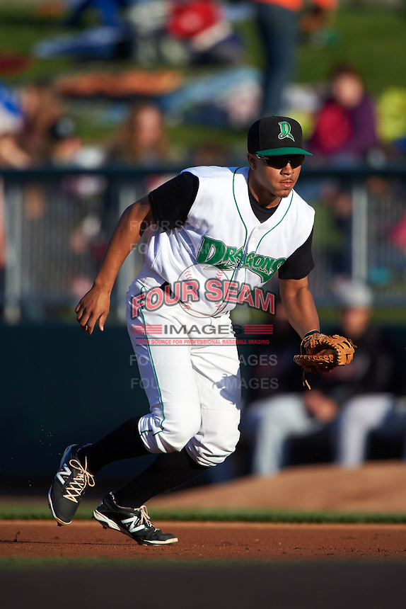 Dayton Dragons first baseman Avain Rachal (22) during a game against the Great Lakes Loons on May 21, 2015 at Fifth Third Field in Dayton, Ohio.  Great Lakes defeated Dayton 4-3.  (Mike Janes/Four Seam Images)