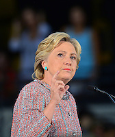 MIAMI, FL - OCTOBER 11: Democratic presidential nominee and former Secretary of State Hillary Clinton speaks during a campaign rally with former Vice President Al Gore at the Miami Dade College - Kendall Campus, Theodore Gibson Center on October 11, 2016 in Miami, Florida. Credit: MPI10 / MediaPunch