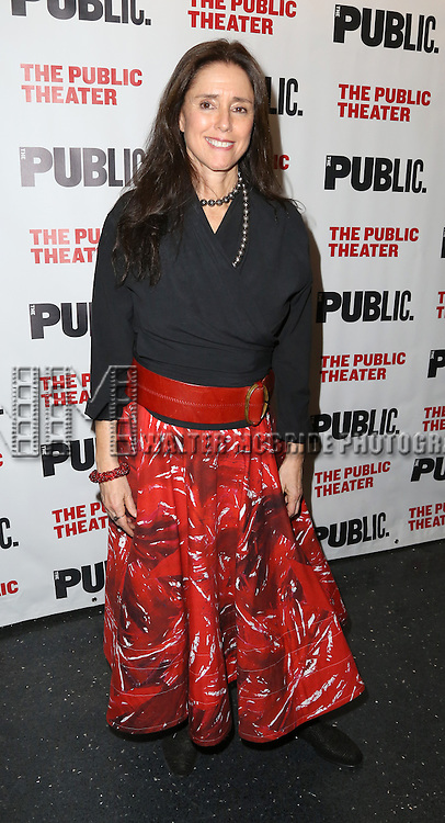 Julie Taymor attends the Opening Night Celebration of 'Grounded' at the The Public Theatre on April 24, 2015 in New York City.