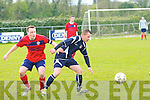 Balloonagh FC's Jachek Kostrzok and CSKA's Chris Foley in action in the division 2A final at Mounthawk park, Tralee on Sunday.