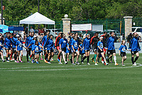 Kansas City, MO - Saturday May 13, 2017:  Teams enter field prior to a regular season National Women's Soccer League (NWSL) match between FC Kansas City and the Portland Thorns FC at Children's Mercy Victory Field.