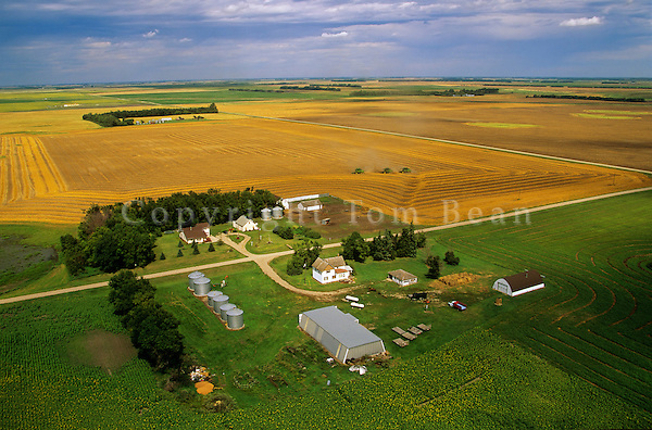 North Dakota farm with combines harvesting wheat in background, near Colgate, North Dakota, AGPix_0088.