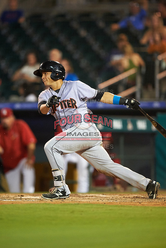 Jupiter Hammerheads catcher Chris Hoo (8) at bat during a game against the Palm Beach Cardinals on August 12, 2016 at Roger Dean Stadium in Jupiter, Florida.  Jupiter defeated Palm Beach 9-0.  (Mike Janes/Four Seam Images)