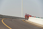 Team Katusha-Alpecin lead the peleton during Stage 3 of the 2018 Tour of Oman running 179.5km from German University of Technology to Wadi Dayqah Dam. 15th February 2018.<br /> Picture: ASO/Muscat Municipality/Kare Dehlie Thorstad | Cyclefile<br /> <br /> <br /> All photos usage must carry mandatory copyright credit (&copy; Cyclefile | ASO/Muscat Municipality/Kare Dehlie Thorstad)