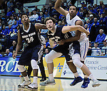February 28, 2015 - Colorado Springs, Colorado, U.S. -  Utah State forward, David Collette #13, and guard, Chris Smith #34, control the lane during an NCAA basketball game between the Utah State Aggies and the Air Force Academy Falcons at Clune Arena, U.S. Air Force Academy, Colorado Springs, Colorado.   Utah State defeats Air Force 74-60.
