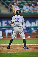 Yolki Pena (12) of the Grand Junction Rockies bats against the Ogden Raptors at Lindquist Field on June 17, 2019 in Ogden, Utah. The Rockies defeated the Raptors 9-0. (Stephen Smith/Four Seam Images)