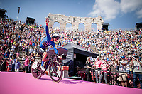 Maglia Azzurra / KOM leader Giulio Ciccone (ITA/Trek-Segafredo) entering the Verona amphitheater after finishing the closing iTT<br /> <br /> Stage 21 (ITT): Verona to Verona (17km)<br /> 102nd Giro d'Italia 2019<br /> <br /> ©kramon