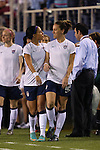 15 December 2012: Sydney Leroux (USA) (left) and Lauren Cheney (USA) (right). The United States Women's National Team played the China Women's National Team at FAU Stadium in Boca Raton, Florida in a women's international friendly soccer match. The U.S. won the game 4-1.