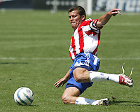 Chivas USA captain Ramon Ramirez slides for the ball during a 2005 MLS game between the San Jose Earthquakes and Chivas USA on April 9, 2005 at Spartan Stadium in San Jose, California.  The game ended in a 3-3 tie.  Credit: JN Santos/ISI