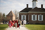 Period actors at Colonial Williamsburg, Virginia, head home at the end of the day.