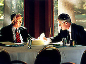 Prime Minister Benjamin Netanyahu of Israel and United States President Bill Clinton meet at The Washington Summit at Wye River on Thursday, October 22, 1998..Mandatory Credit: White House via CNP