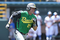 Mark Karaviotis #24 of the Oregon Ducks runs the bases during a game against the UCLA Bruins at Jackie Robinson Stadium on May 18, 2014 in Los Angeles, California. Oregon defeated UCLA, 5-4. (Larry Goren/Four Seam Images)