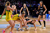 Diamonds&rsquo; Gabi Simpson and Silver Ferns&rsquo; Sam Sinclair in action during the International Netball Constellation Cup - NZ Silver Fans v Australia Diamonds at TSB Bank Arena, Wellington, New Zealand on Thursday 18 October  2018. <br /> Photo by Masanori Udagawa. <br /> www.photowellington.photoshelter.com