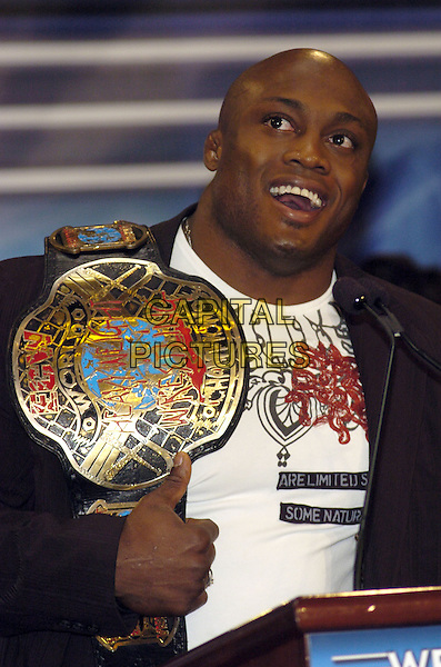 "BOBBY LASHLEY.News conference for ""Wrestlemania 23"" at Trump Tower, New York, New York, USA..March 28th, 2007.half length belt award.CAP/ADM/BL.©Bill Lyons/AdMedia/Capital Pictures *** Local Caption ***"