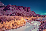 Paria River at Lees Ferry, Arizona (Infrared) ©2016 James D Peterson.  The Paria, flowing from southern Utah, empties into the Colorado River just beyond this point.