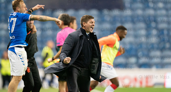 29.08.2019 Rangers v Legia Warsaw: Steven Gerrard at full time