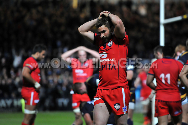 Nicky Robinson of Bristol Rugby looks dejected after his side concedes a try in the last play. Greene King IPA Championship Final (second leg), between Worcester Warriors and Bristol Rugby on May 27, 2015 at Sixways Stadium in Worcester, England. Photo by: Patrick Khachfe / Onside Images