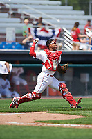 Auburn Doubledays catcher Jeyner Baez (13) throws down to second base after blocking a pitch in the dirt during the first game of a doubleheader against the Mahoning Valley Scrappers on July 2, 2017 at Falcon Park in Auburn, New York.  Mahoning Valley defeated Auburn 3-0.  (Mike Janes/Four Seam Images)