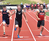 RICK PECK/SPECIAL TO MCDONALD COUNTY PRESS Corbin Jones (right) takes fourth place in the 100 meter dash at sectionals to advance to this week's state track meet. Elijah Aye of Willard (center) won the race.