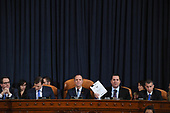 From left to right, United States Representative Jim Himes (Democrat of Connecticut), Daniel Goldman, counsel to the US House Intelligence Committee, US Representative Adam Schiff (Democrat of California), Chairman, US House Permanent Select Committee on Intelligence, US Representative Devin Nunes (Republican of California), and Steve Castor, general counsel for the US House Oversight and Government Reform Committee are seen as David A. Holmes, Department of State political counselor for the US Embassy in Kyiv, Ukraine and Dr. Fiona Hill, former National Security Council senior director for Europe and Russia appear before the US House Intelligence Committee during an impeachment inquiry hearing at the Longworth House Office Building on Thursday November 21, 2019 in Washington, DC. <br /> Credit: Matt McClain / Pool via CNP