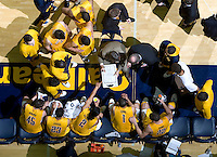California head coach Mike Montgomery talks with his players on the bench during a time out call against Arizona at Haas Pavilion in Berkeley, California on February 2nd, 2012.  Arizona defeated California, 78-74.
