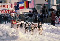 Harnessed sled dogs sprint from the gate at the start of the Anchorage-to-Nome Iditarod trail. huskies, dog, animals, labor, sports. Alaska Iditarod Trail.