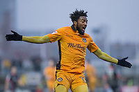 Marlon Jackson of Newport County during the abandoned Sky Bet League 2 match between Newport County and Morecambe at Rodney Parade, Newport, Wales on 10 December 2016. Photo by Mark  Hawkins.